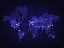 Nocy światowa mapa Zdjęcia Stock