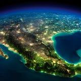 Nocy ziemia. Kawałek Północna Ameryka, Meksyk - ilustracji
