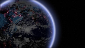 Nocy ziemia zbliża wewnątrz