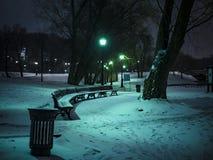 Nocy zimy śnieżna ławka w światłach i lesie obraz royalty free