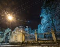 Nocy zimy Potocki pałac w Lviv mieście, Ukraina Obraz Royalty Free