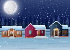 Nocy zimy wioski krajobraz z śniegiem zakrywał dom i opad śniegu royalty ilustracja