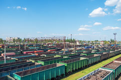 Nodal railway station. Urban junction railway yard on which sorting of freight railway trains takes place Royalty Free Stock Image