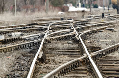 Node railway. Construction node railway line in station stock photography