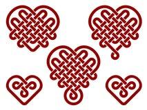 Nodi cinesi nella forma di cuore Fotografie Stock