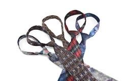 Nodi delle cravatte isolate su fondo bianco Fotografie Stock