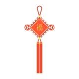 Nodo cinese con la nappa ed il carattere cinese che utilizza nel nuovo anno lunare Fotografia Stock Libera da Diritti