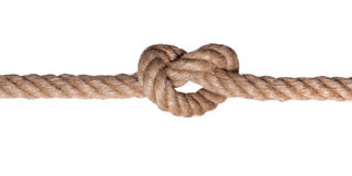 Nodo della corda un tal cuore isolato Fotografia Stock