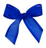 Nodo di seta blu del nastro Immagini Stock