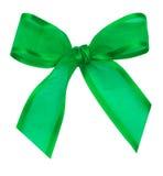 Nodo di seta verde del nastro Fotografie Stock Libere da Diritti