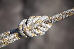 Nodo di sicurezza, corda bianca Fotografia Stock Libera da Diritti
