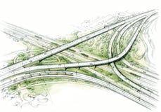 Nodo di trasporto - disegno architettonico Immagini Stock Libere da Diritti