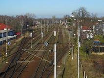 Nodo ferroviario preso dal ponte qui sopra Fotografia Stock Libera da Diritti