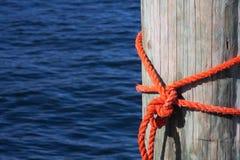 Nodo nautico arancione Fotografia Stock Libera da Diritti