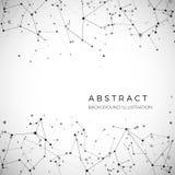 Nodo, puntos y líneas Fondo gráfico geométrico de las partículas abstractas Estructura del átomo, de la molécula y de la comunica libre illustration
