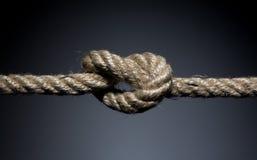 Nodo sfilacciato della corda Fotografia Stock