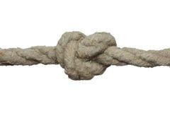 Nodo stretto sulla vecchia corda. fotografie stock libere da diritti