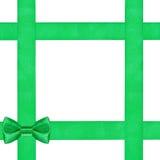 Nodo verde dell'arco su quattro nastri del raso isolati Fotografia Stock Libera da Diritti