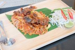 Noedelmengeling van Thais voedsel Stock Foto's
