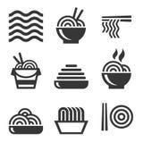 Noedelpictogrammen De Aziatische Geplaatste Emblemen van de Voedselbar Vector Stock Foto