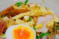 Noedels Chinees voedsel met gekookt ei, gebraden ei, en groente Stock Fotografie