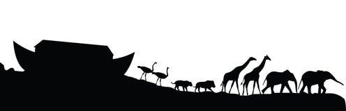 Κιβωτός και ζώα Noeh που απομονώνονται στο λευκό,  Στοκ Φωτογραφία