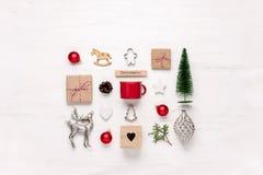 Noel或圣诞节假日装饰材料 免版税库存照片