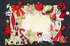 Noel и граница предпосылки рождества Стоковая Фотография RF