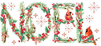 Noel background. watercolor Royalty Free Stock Images