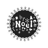 Noel. Calligraphy phrase. Handwritten brush seasons lettering. Xmas phrase. Hand drawn element. Holidays. Greeting card. Text. Christmas calligraphy. Label Royalty Free Stock Images
