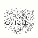 Noel Card De Typografie van de de wintervakantie Het Handdrawn Van letters voorzien Affiche met Lijn Art Christmas Elements Royalty-vrije Stock Afbeeldingen