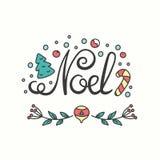 Noel Card Typografi för vinterferie Handdrawn bokstäver Arkivbilder