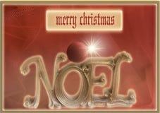Noel Christmas hälsningkort som dekoreras med den röda prydnaden Royaltyfria Bilder