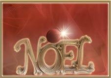 Noel Christmas hälsningkort som dekoreras med den röda prydnaden Fotografering för Bildbyråer