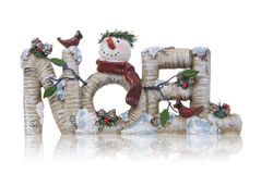 Noel Christmas Sign. A Christmas themed noel sign with a snowman Royalty Free Stock Images