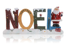 Noel Christmas Sign. A Christmas themed noel sign with santa claus Royalty Free Stock Images