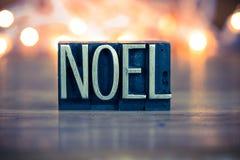 Noel Concept Metal Letterpress Type Immagini Stock