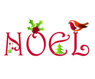 Noel design. With holly and robin Stock Image