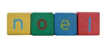 Noel en las letras de molde de los niños Imagen de archivo
