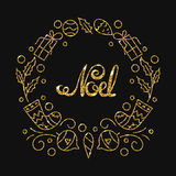 Noel Golden Lettering Design Salutations typographiques de Noël illustration libre de droits