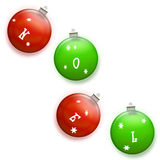 Noel in Green and Red - Christmas Holiday Ornaments. Green and red round Christmas holiday tree ornaments spell out NOEL on white background - illustration Stock Images