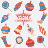Noel karta. Bożenarodzeniowe dekoracje. Fotografia Royalty Free