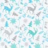 Noel-Karte mit Rotwild und Weihnachtsdekorationen. Lizenzfreies Stockfoto