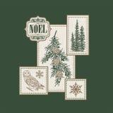 NOEL-logepatchwork Arkivfoto