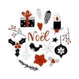 Noel, Noël sur le Français Composition en cercle avec des attributs de décoration de Noël illustration libre de droits