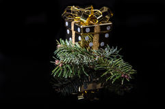 Noel ornament on black. With reflection Royalty Free Stock Photo