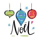 Noel quote lettering typography greeting card doodles trendy elements. Hand drawn illustration isolated on white background stock illustration