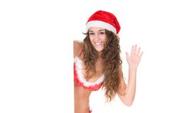 Noel santa claus saying hello and laughing with co Royalty Free Stock Photo