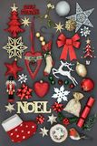 Noel Sign with Christmas Decorations Royalty Free Stock Image