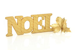 Noel Sign and Holly Stock Photos